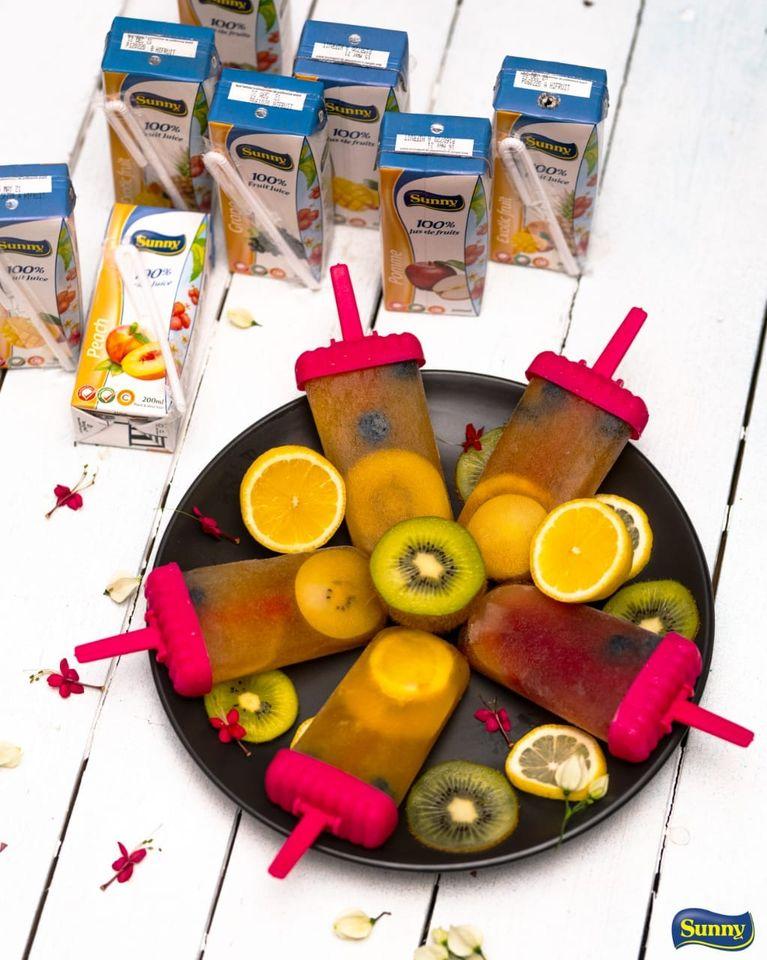 sunny fruit juice popsicle