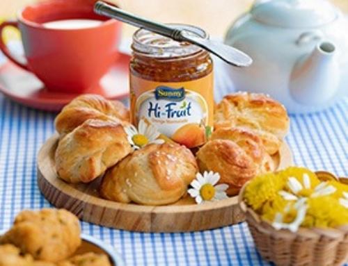 Homemade bread buns with Sunny Hi- Fruit jam