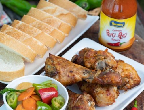 Sunny Peri Peri Chicken with baguette & veggies recipe