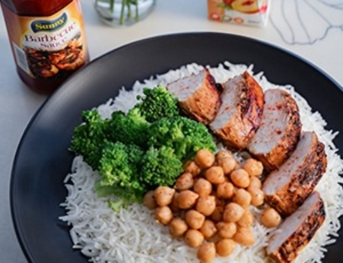 Sunny BBQ Chicken with rice, broccoli and Roasted Sunny Chickpeas Recipe